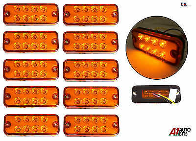 10X 24 Volt Orange Side Marker Light Indicator Lamps Truck Lorry Lgv Hgv Bus Led