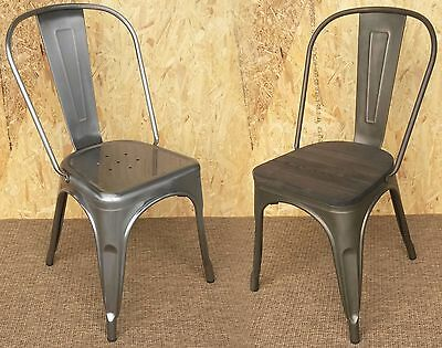 New Tolix Metal Chairs Galvanised Steel & Tarnished - Retro French Bistro