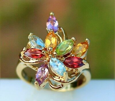 Size 8 Sterling 925 with gold overlay genuine gemstones 5.1g   RING