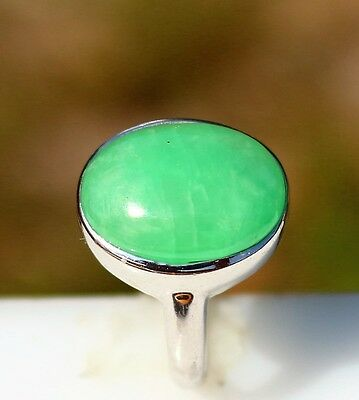Size 8 Sterling 925 with with white gold overlay green Onyx cab 6.0g   RING