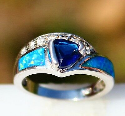 Size 6.5 Sterling 925 blue Opal Blue and clear CZ stones 3.5g   RING