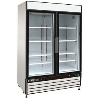 """New MAXX COLD Double Glass Door Reach-in Cooler 54"""" MXM1-48R FREE SHIPPING!"""