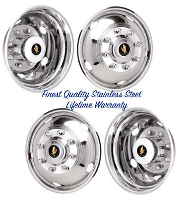 """17"""" Chevy Chevrolet Gm 3500 8 Lug Stainless Wheel Simulator Covers Snap On ©"""