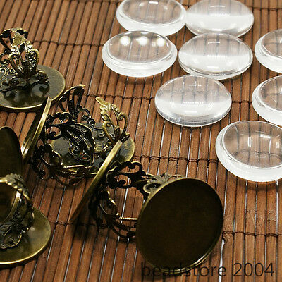 10Sets 25mm Clear Magnifying Glass Cabochon Cover for Brass Portrait Ring Making