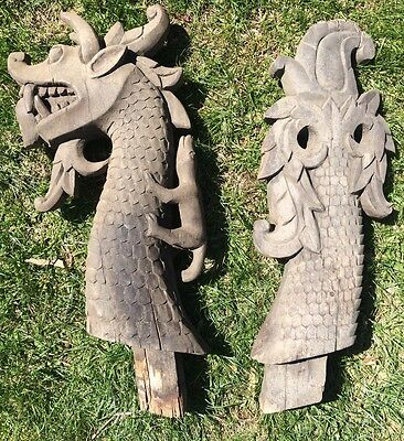 *~RARE~* OOAK Antique VTG Indonesian Hand Carved Wooden Dragon Finials Set WOW!!