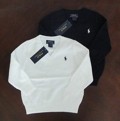 NWT Ralph Lauren Boys LS Solid Dressy Cotton V-neck Sweater 5 6 or 7 NEW $60