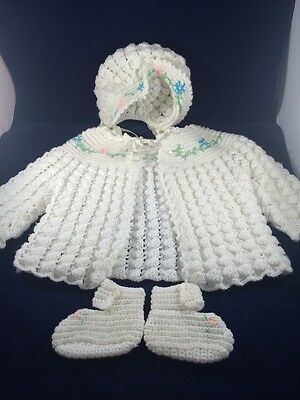Vintage Girls Handmade Knit Baby Infant Sweater Bonnet Shoe Set Floral Design