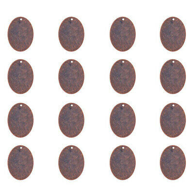 10pc Red Copper Brass Big Oval Tag Pendants Smooth Stamping Blank Charms 40x30mm