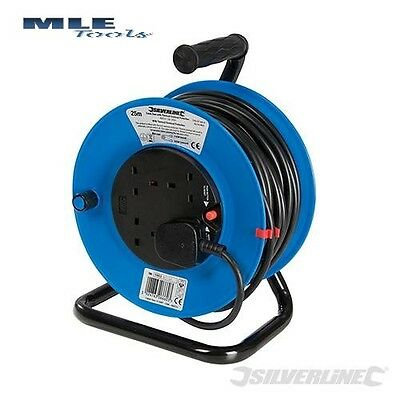 Silverline Cable Reel 240V Freestanding extension lead 13A 25m 4 Socket 465510