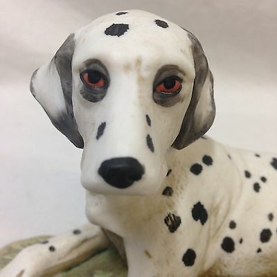 Vintage HomCo #1403 Dalmatian Dog Figurine Laying Down in Grass Porcelain Bisque