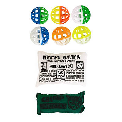 Cat Kitten Play Balls Toy Set 6 Small Colorful Activity  With Bells **