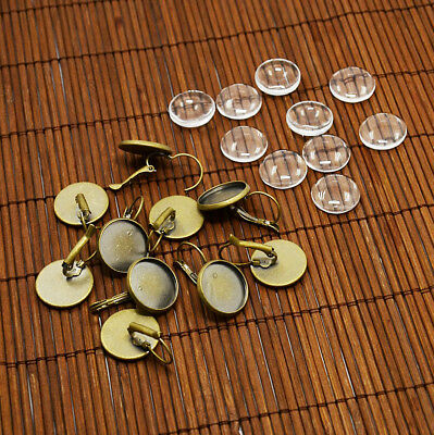 10 Sets Antique Bronze Brass Leverback Earwire Setting Blanks Bezel & 16mm Cover
