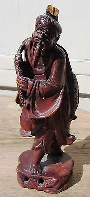Antique Carved Rosewood? Chinese Sculpture Figure Fisherman Fine Wood Carving