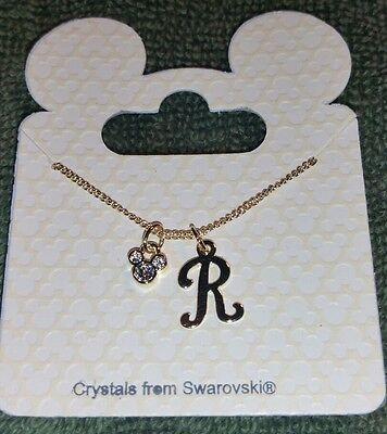 """New Disney Parks 18"""" Mickey Icon With Letter """"r"""" Swarovski Gold Tone Necklace"""