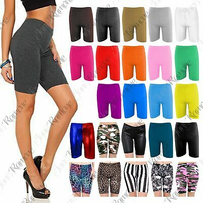 New Womens Over Knee Length Cotton Plain Shorts Dance Cycling Active Gym Legging