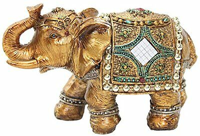 "Stunning Gold Color 6"" Elephant Trunk Statue Wealth Lucky Feng Shui Figurine US"