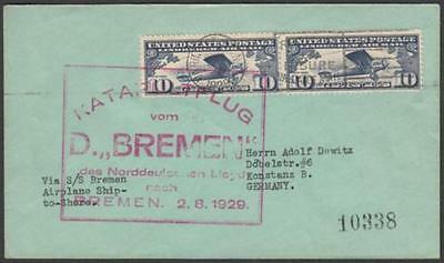 USA 1929 Katapultflug Cover to Germany with Airmail 10c Spirit of St Louis (2)