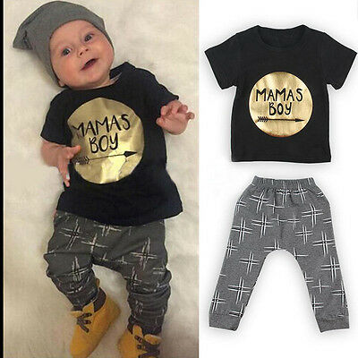 2pcs Newborn Baby Boys MAMAS BOY Outfit T-shirt+Pants Leggings Clothes Set 0-24M