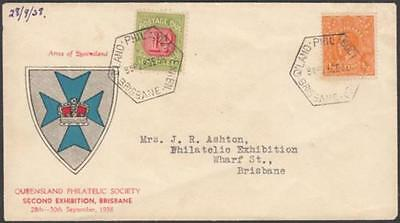 Australia 1938 Qld. Philatelic Society Cover with KGV ½d orange/1d Postage due