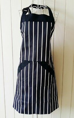 Coming again!! Chic Black White Stripe Two Pocket Patch Adjustable Cotton Apron