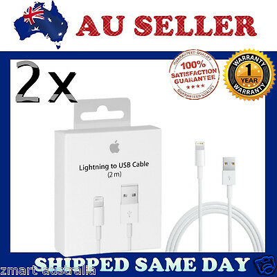 2x 2M Apple ORIGINAL GENUINE Lightning Data Cable Charger iPhone 5 S C 6 iPad