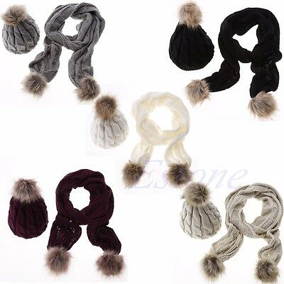 Women Fashion knitted Scarf and Hat Set Crochet Cap Winter Warm Beanie Ski Hat