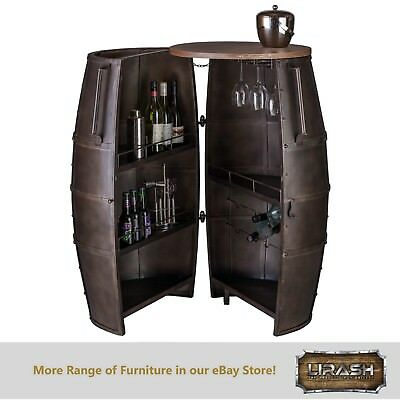 Bar Cabinet Wine Rack Storage Alcohol Wrought Iron 80 Bottles Barrel