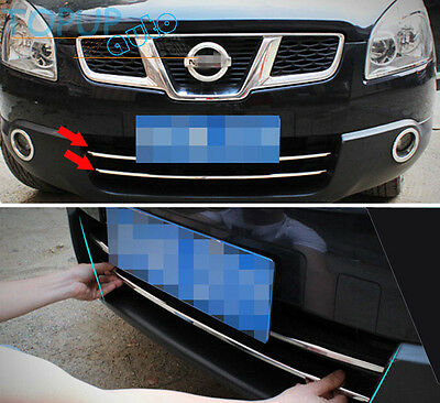 For 07-09 Nissan Qashqai Chrome Front Mesh Bumper Grille Cover Trim Accent Lower