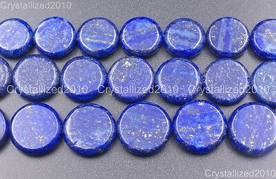 Natural Lapis Lazuli Gemstone Flat Round Coin Beads 16mm 18mm 20mm 16'' Strand