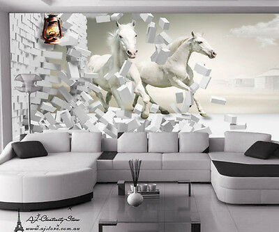 3D Noble white horse Wall Paper 322 Print Decal Wall Deco Indoor wall Mural Au