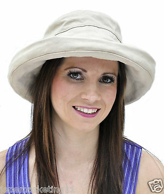 Ladies Adjustable Cotton Sun Hat with wide brim (Holiday/Beach)