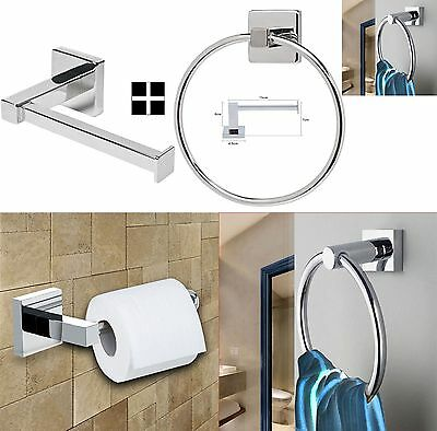 Chrome Square Bathroom Toilet Roll Holder & Towel Ring Wall Mount Accessory Set