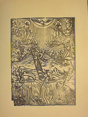 Antique Woodcut Print ~ Religious Jacob's Ladder Heaven & Hell Cherubs