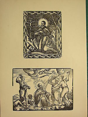 Antique Woodcut Print ~ St David ~ Saint Being Stoned Religious Image