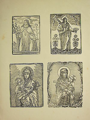 Antique Woodcut Print ~ Medieval Gothic ~ Saints ~ Virgin Mary With Child