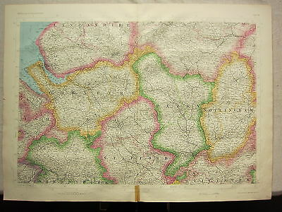 1868 Hand Coloured Map ~ Cheshire Derby Stafford Nottingham Shropshire Chester