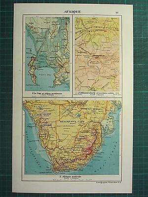 1921 Map ~ South Africa ~ Johannesburg Territory Cape Town