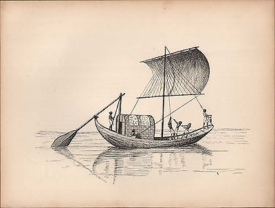 1936 Sailing Ship Print ~ A Nile Boat In Ancient Egypt