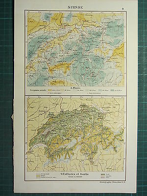 1921 Map ~ Switzerland Distribution Of Rain ~ Crops And Forests