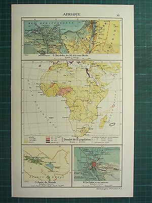 1921 Map ~ Africa ~ Siwa Oasis Cairo Environs ~ Density Of Population Nile Delta