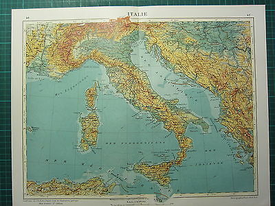 1921 MAP Italy Physical Sardinia Sicily Naples Rome Tuscany