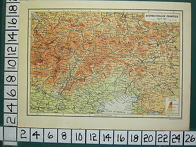 1915 Wwi Ww1 Map ~ Austro-Italian Frontier Physical ~ Land Heights Tyrol
