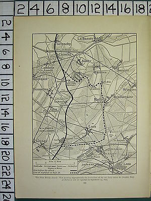 1915 WWI WW1 MAP ~ MAIN BRITISH ATTACK ~ BATTLE LINES 1st ARMY DOUGLAS HAIG
