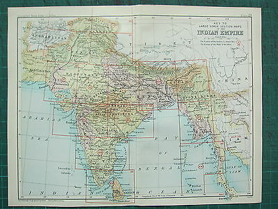 1893 India Empire Map ~ Indian Empire Showing Key To Large Scale Section Map