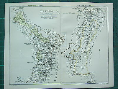1893 India Empire Map ~ Darjiling Northern & Southern Sections Cantonments