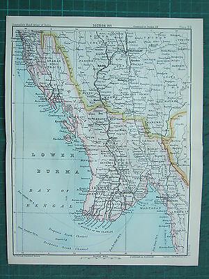 1893 India Empire Map ~ India Section Xii ~ Lower Burma