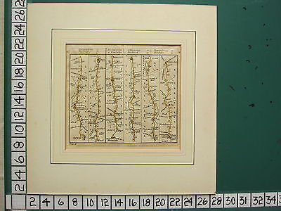 c1780 GEORGIAN STRIP MAP ~ ROAD FROM MONMOUTH TO LLANBEDER ~HAND COLOURED