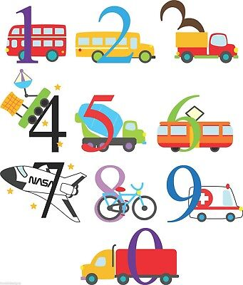 Transport theme numbers colour vinyl wall stickers nursery playroom classroom