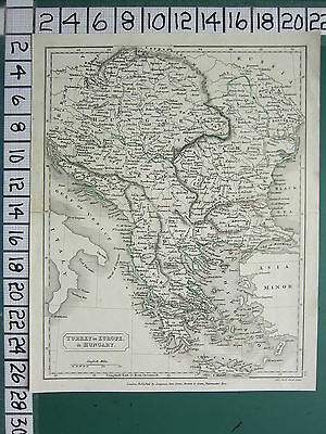 c1815 GEORGIAN MAP ~ TURKEY IN EUROPE & HUNGARY ~ GREECE MOREA RUMELIA ALBANIA