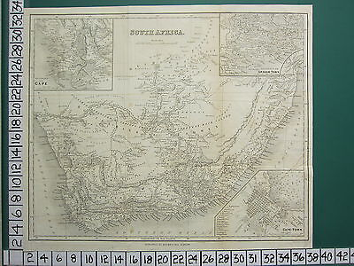 c1880 VICTORIAN MAP ~ SOUTH AFRICA CAPE TOWN CITY PLAN GRAHAM-TOWN CAPE ENVIRONS